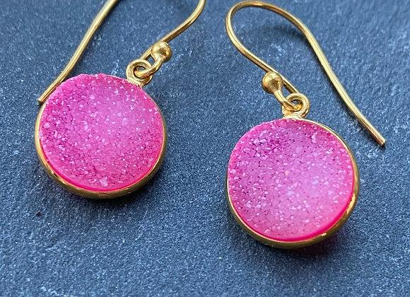 Pink Druzy 18k gilded silver earrings