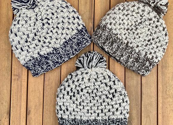 100% Pure Wool Oatmeal Mix Bobble Hat (3 colours)