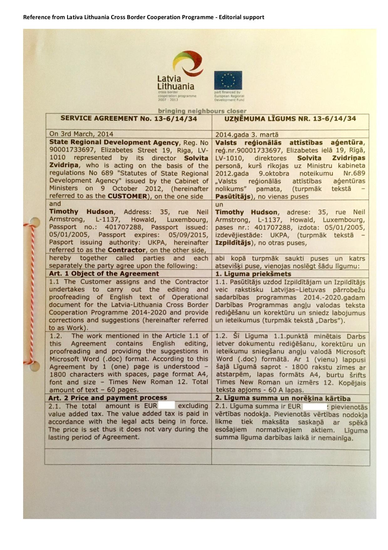 Joint Technical Secretariat of Latvia-Lithuanian Cross Border Cooperation Programme: Editorial expert (2014).