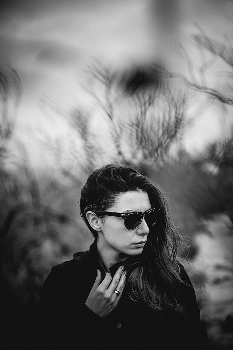 homeless, people, happy, hat, orange, green, hair, ear, blue eyes, colors, beard, dark forrest, portrait, woman in black, 50 shades of gray, karkamishev photography, Sasho Karkamishev, photography, black & white, sunglasses, ray-ban, long hair, trees, branches,
