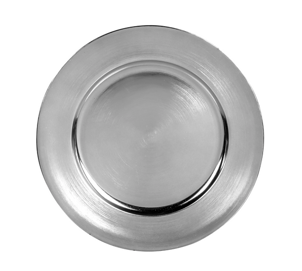 Metallic Silver Plastic Charger Plates, 13 in.