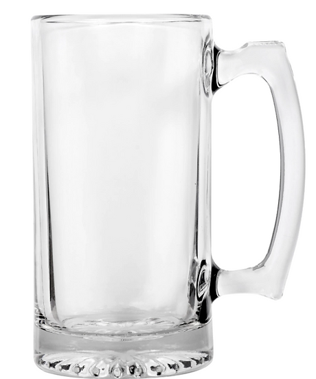 Glass Sports Mugs with Handles, 26.5 oz.