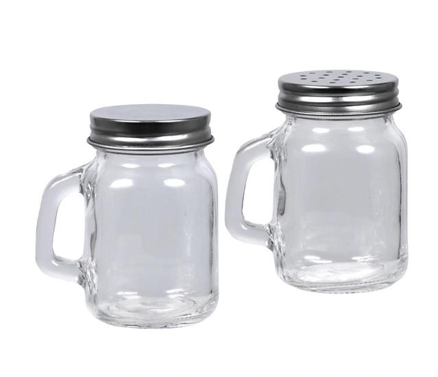 Mini Glass Shaker Jars with Handles and Metal Lids