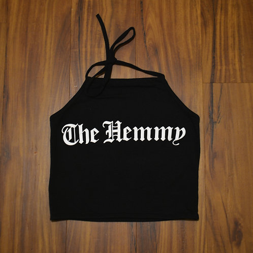 The Hemmy Old English Halter neck crop top