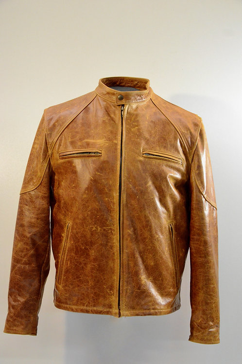 372-Mens Leather Jacket - Tan Distressed