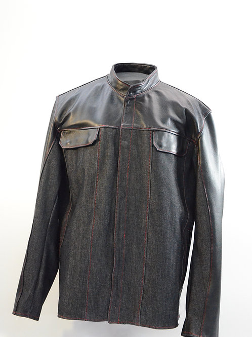 334 - Denim Shirt with Leather Trim