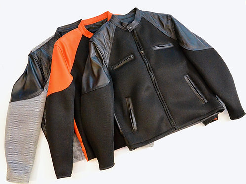 378 - Mens Leather Jacket with Mesh Trim