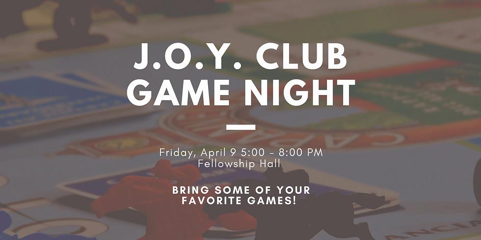 J.O.Y. Club Game Night Cancelled for 04.09.21