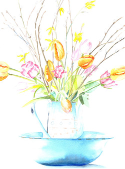 168. Tulips in Blue Vase