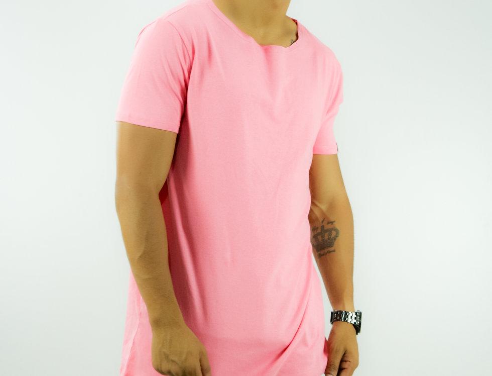 Camiseta Oversized Longline Gola Canoa Reta Simples Rosa
