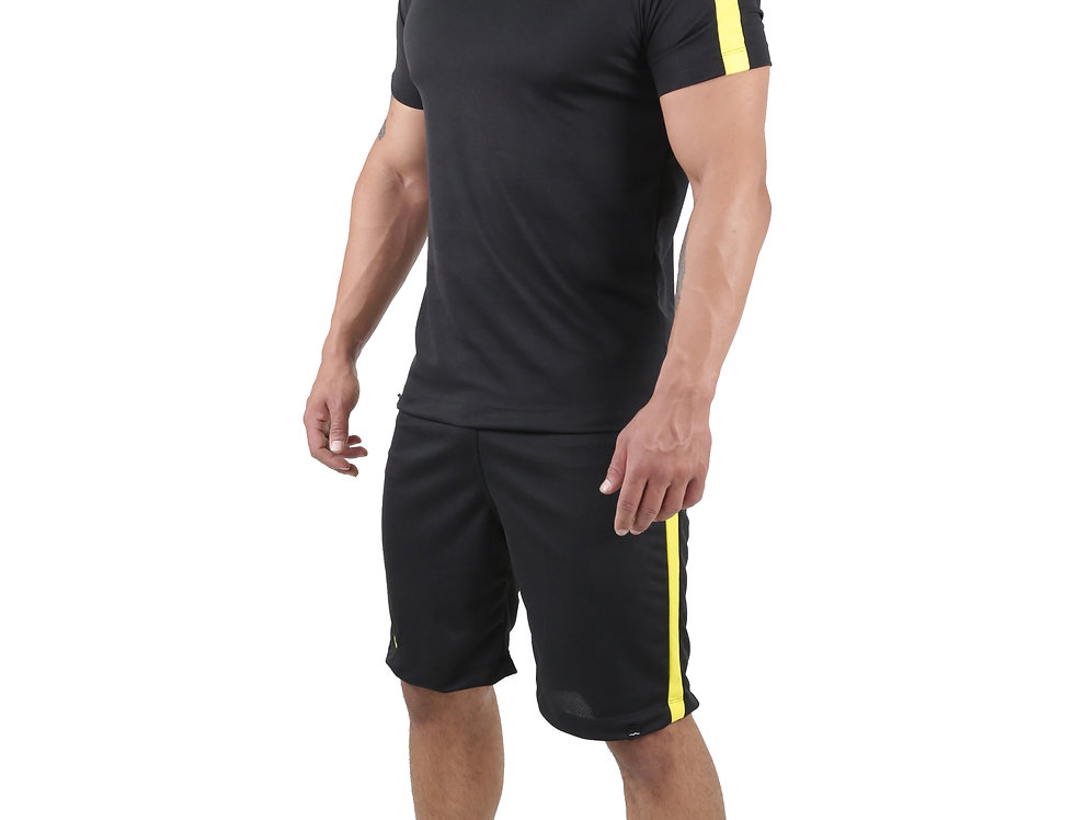 Conjunto Dry Fit Academia Camisa E Bermuda Running Atletico Preto com Amarelo