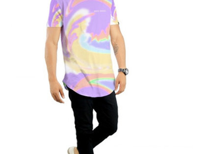 Camiseta Tie Dye Oversized  Redonda Swag Multicor