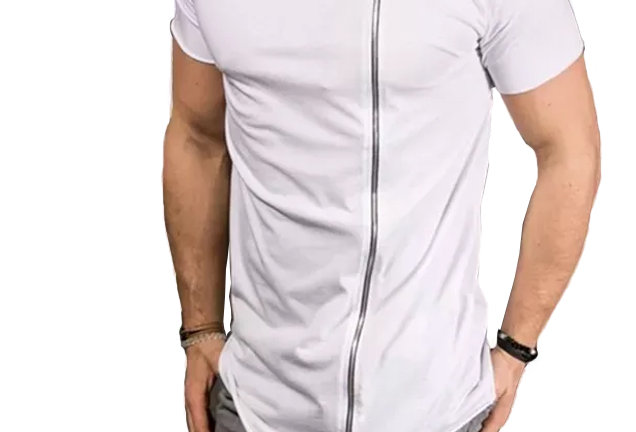 Camiseta Oversized Barra X com Zíper Frontal 4mm Branca