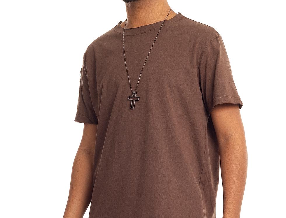 Camiseta Longline Oversized Destroyed Rasgada Barra Redonda Marrom