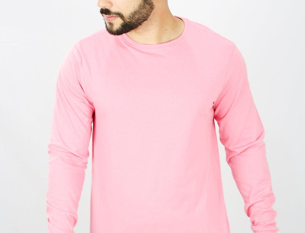 Camisa Basica Manga Comprida Manga Longa 100% Algodão Rosa