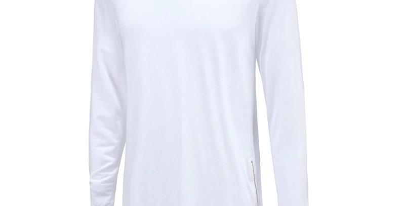 Camisa Manga Longa Longline Oversized Ziper Lateral Redonda Swag