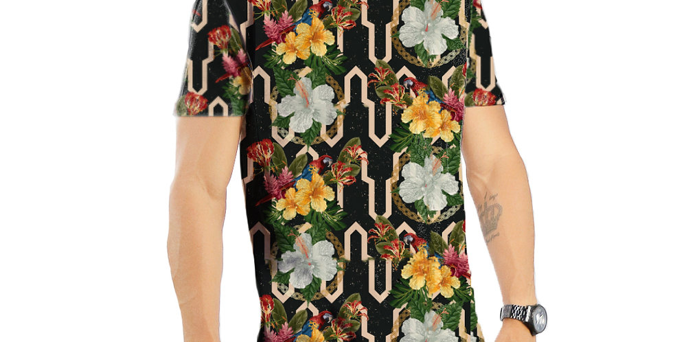 Camiseta Oversized Redonda Swag Estampa Total Tropical 04