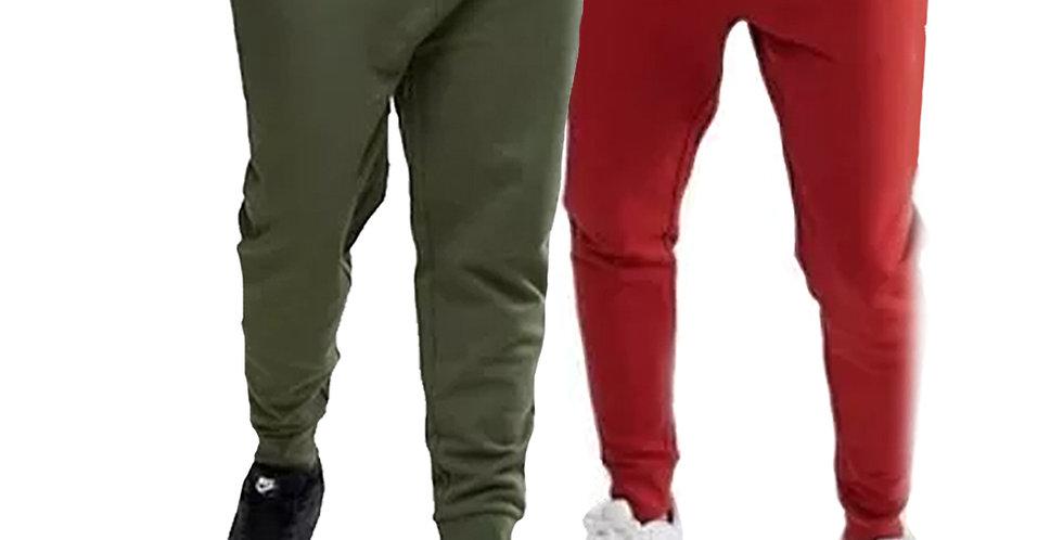 Kit 2 Calça Moletom Moleton Meio Swag Jogger Masculina Básica Verde + Vermelho