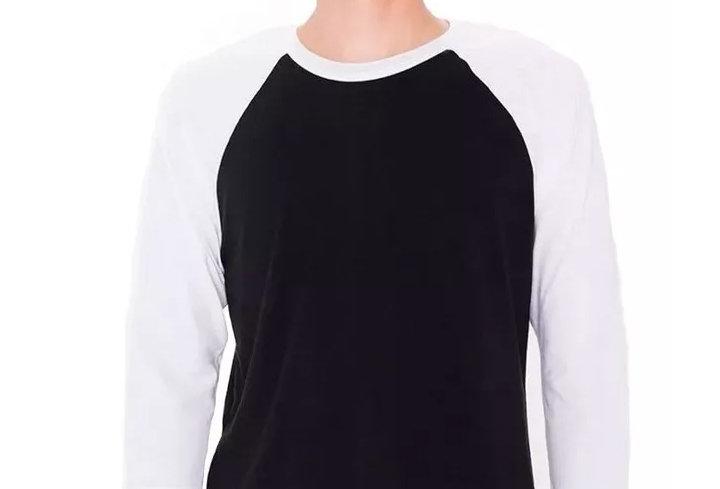 Camiseta Raglan 3/4 Básica 100% Algodão Barra Reta Branco no Preto