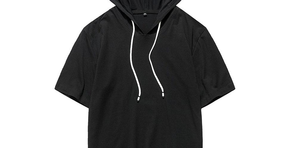 Blusão Camisa Básica Capuz com Cordão 100% Algodão Meio Swag Preta