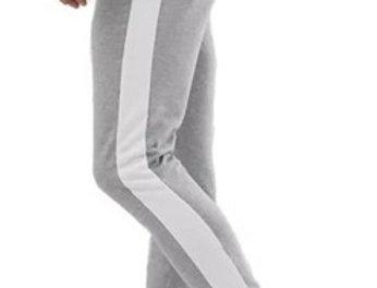 Calça Track Pants Moletom Fitnes Cinza Claro no Branco