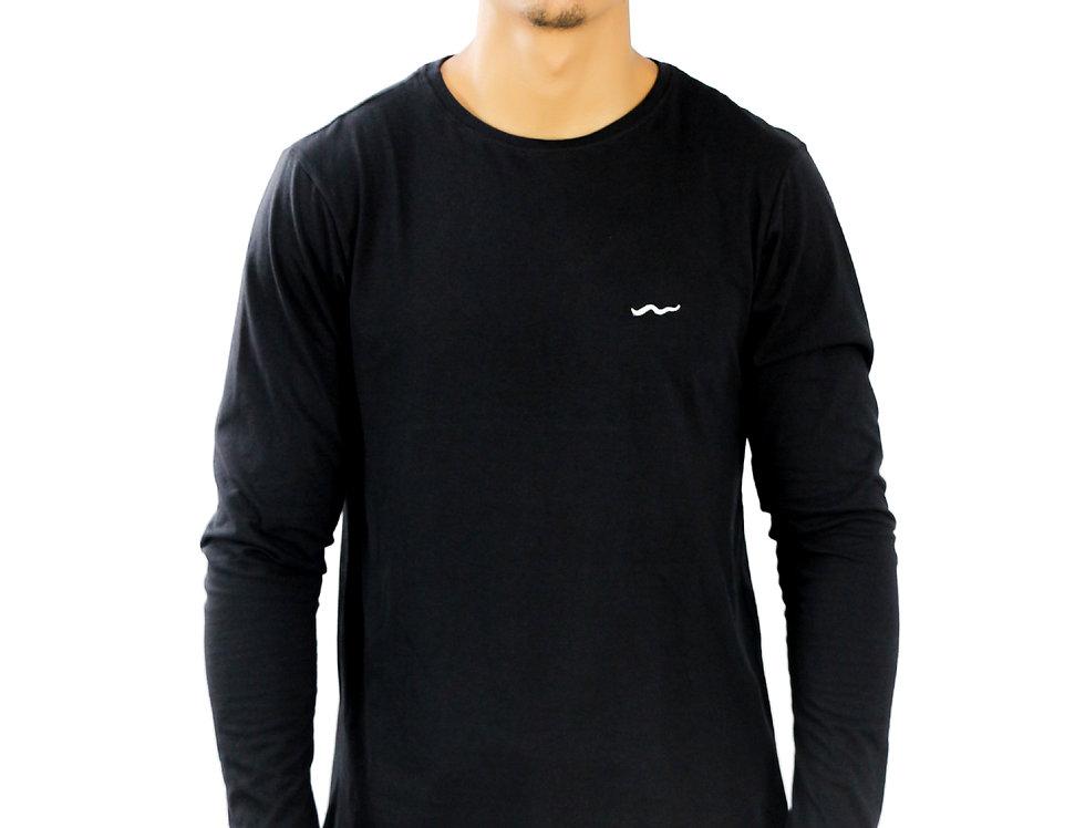 Camiseta Básica Oversized Manga Longa Punho Integrado Barra Em Super L MEIO SWAG