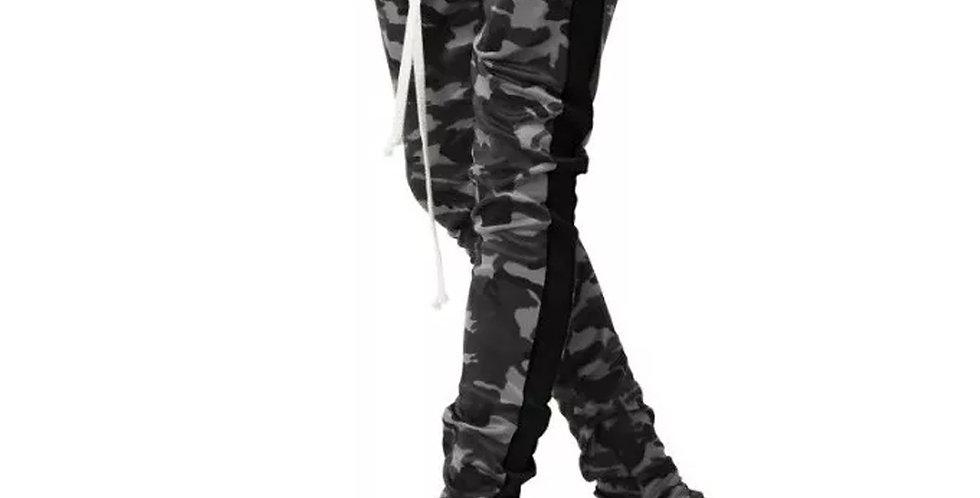 Calça Camuflado Moletom Listrada Jogger com Zipper Camuflado Cinza