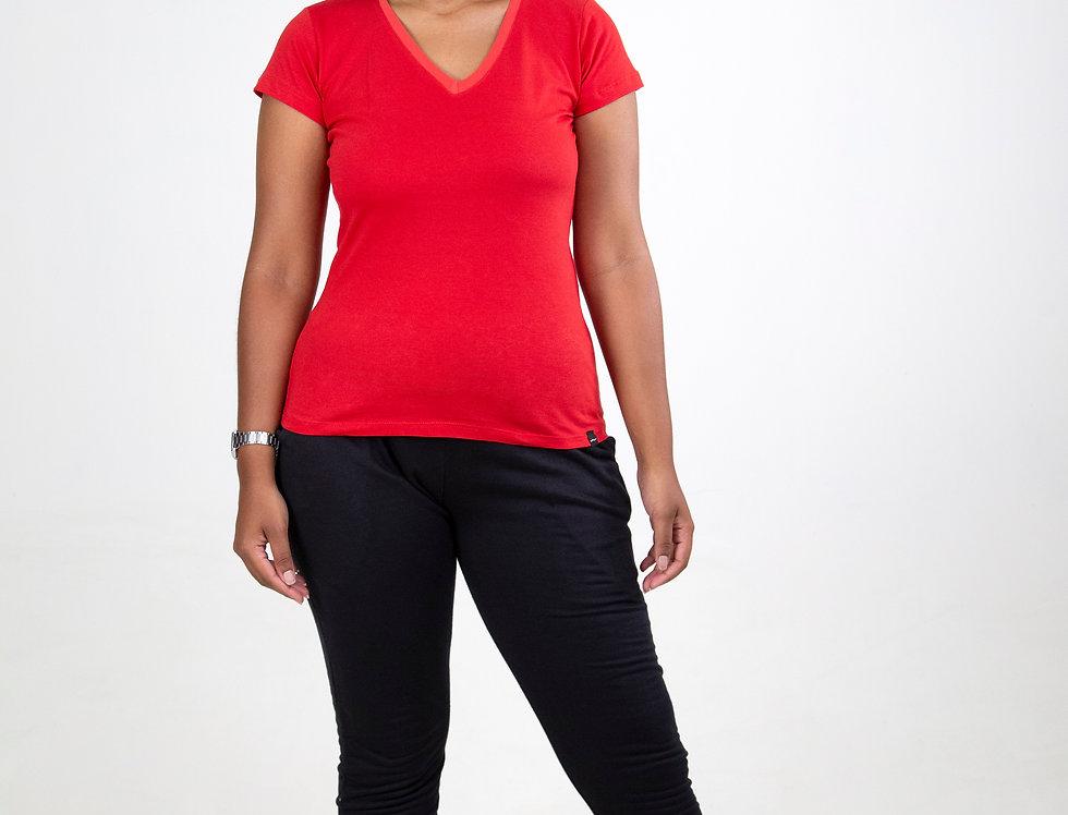 Camiseta Básica Gola V 100% Algodão Vermelho