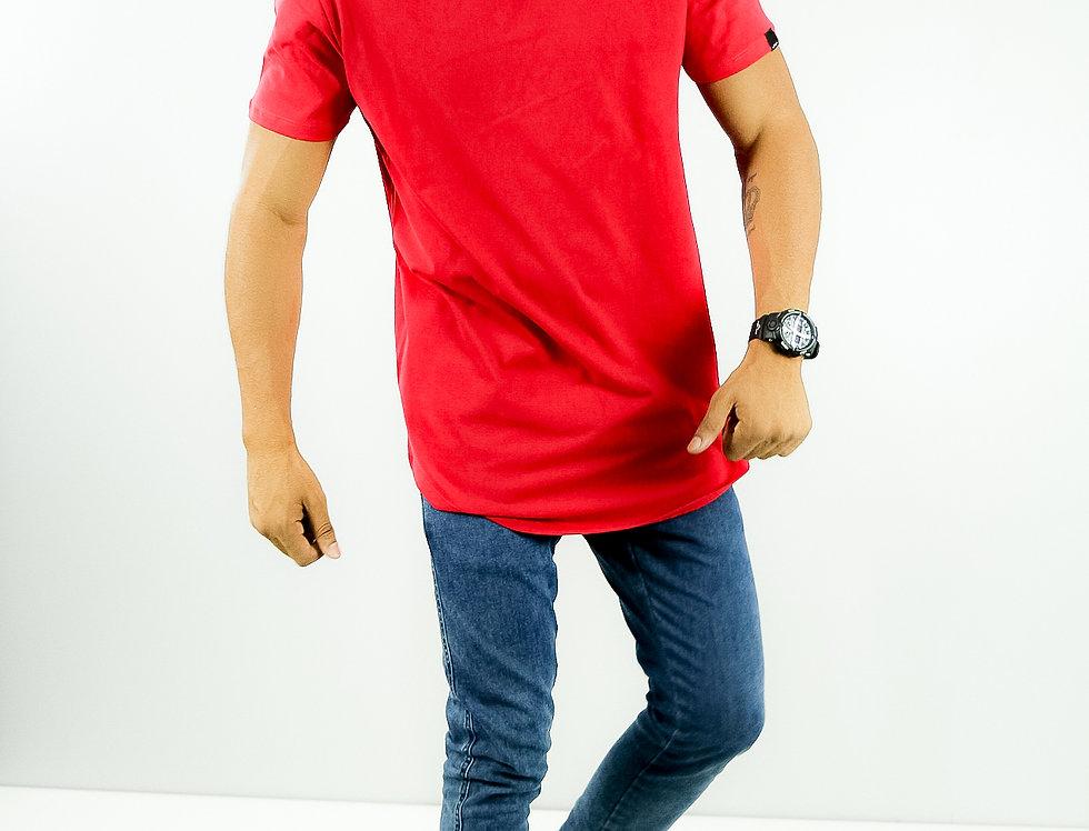 Camiseta Oversized Longline Redonda Meio Swag Vermelho
