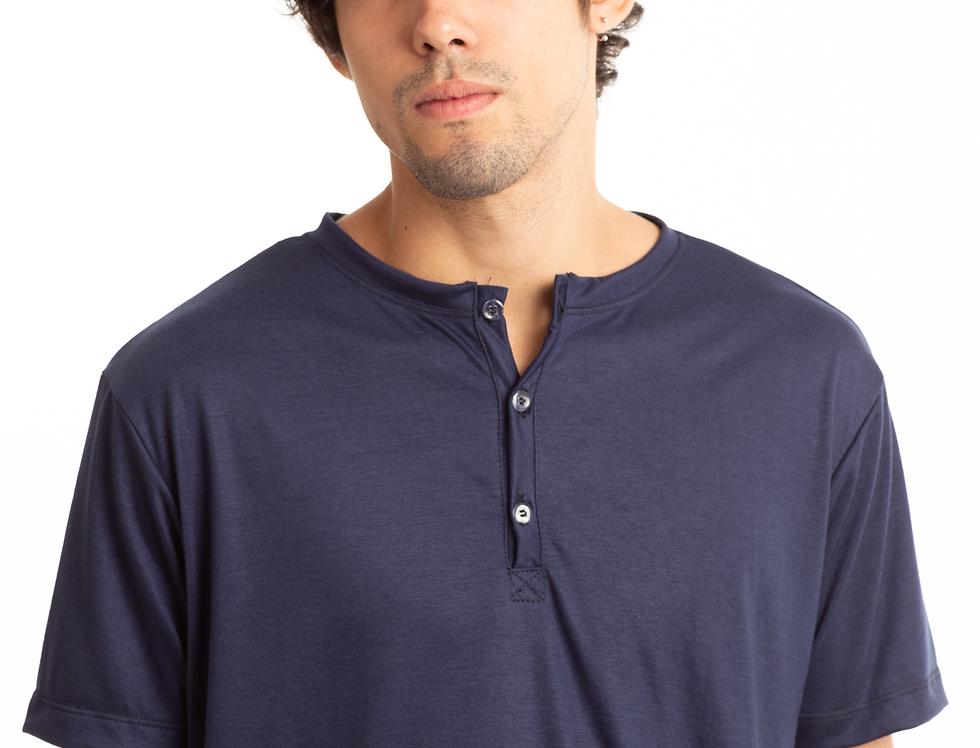 Camisa De Botão Henley Gola Portuguesa Slim Masculina Básica Azul