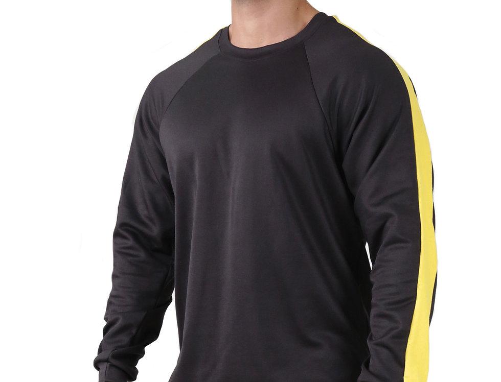 Blusa Listra Lateral Colegial Fitness Meio Swag Preto com Amarelo