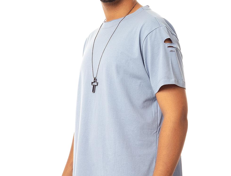 Camiseta Longline Oversized Destroyed Rasgada Barra Redonda Azul Claro
