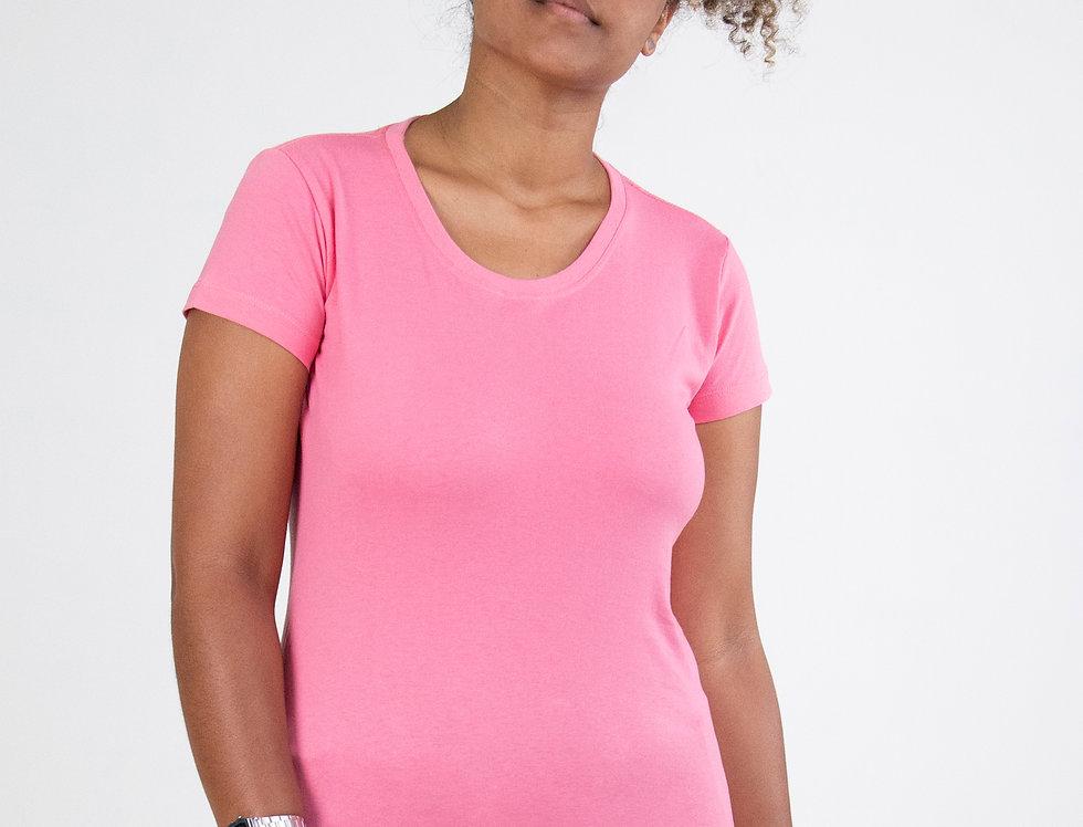 Camiseta Básica Gola Redonda 100% Algodão Rosa
