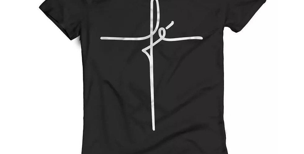 Camiseta Oversized Longline Estampa Fé Barra Redonda Preta