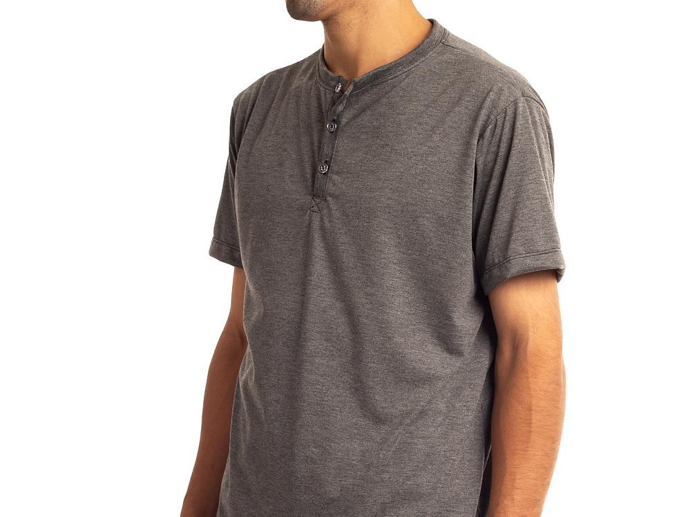 Camisa De Botão Henley Gola Portuguesa Slim Masculina Básica Cinza Mescla Escuro