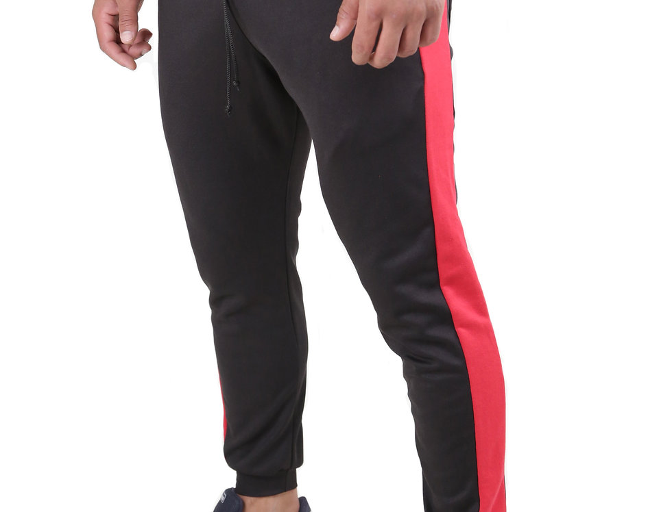 Calça Listrada Track Pants Colegial Fitness Jogger Meio Swag Preto com Vermelho