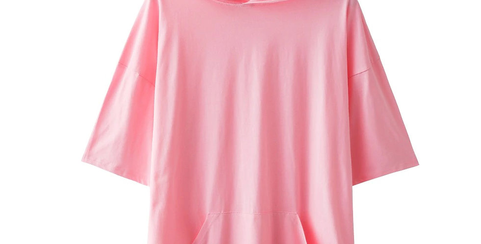 Blusão Camisa Básica Capuz com Cordão 100% Algodão Meio Swag Rosa