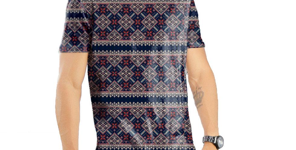 Camiseta Oversized Redonda Swag Estampa Total Étnica 05