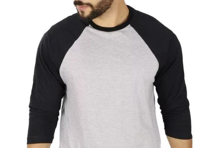 Camiseta Raglan 3/4 Básica 100% Algodão Barra Reta Preto no Cinza