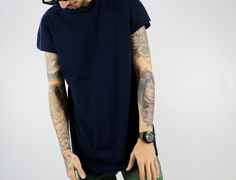 Camiseta Sem Manga Oversized Longline Reta Algodão Meio Swag