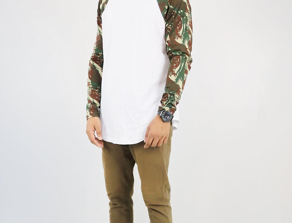 Camiseta Raglan Camuflada Verde Militar Manga Longa