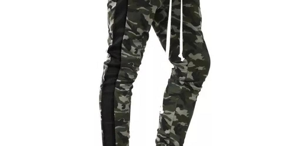 Calça Camuflado Moletom Listrada Jogger com Zipper Camuflado Verde