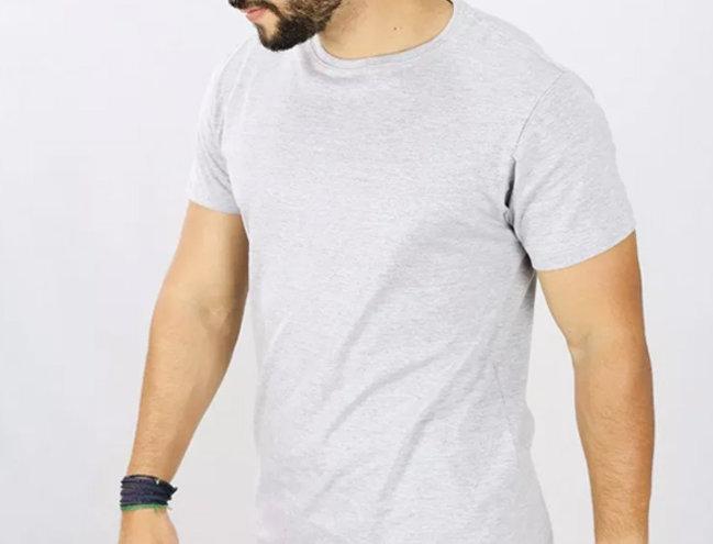 Camiseta Oversized  Gola Redonda Manga Curta Barra X Cinza Mescla Claro