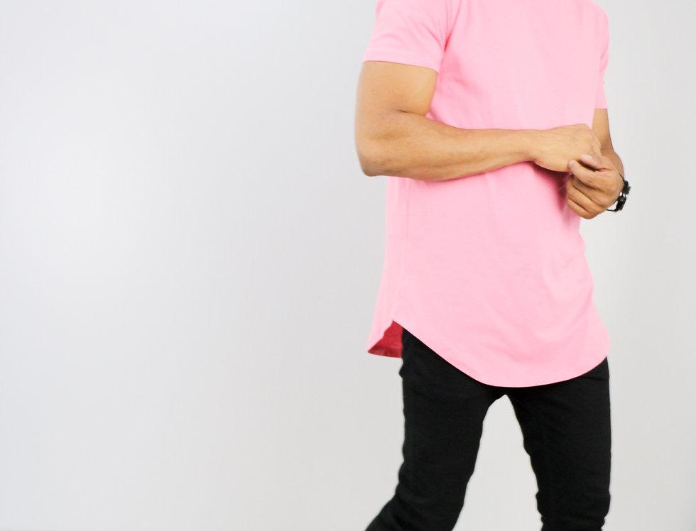 Camiseta Oversized Longline Redonda Meio Swag Rosa