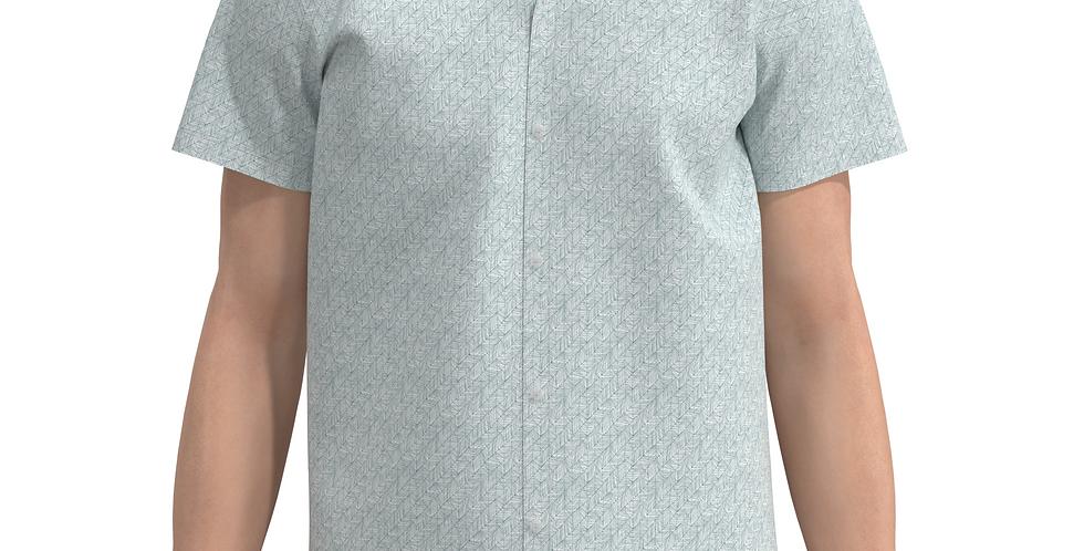 Camisa Estampa Total Seta De Botão Manga Curta Meio Swag