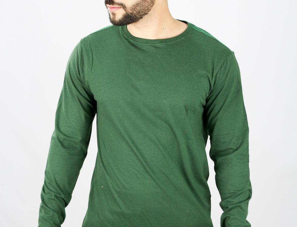 Camisa Basica Manga Comprida Manga Longa 100% Algodão Verde