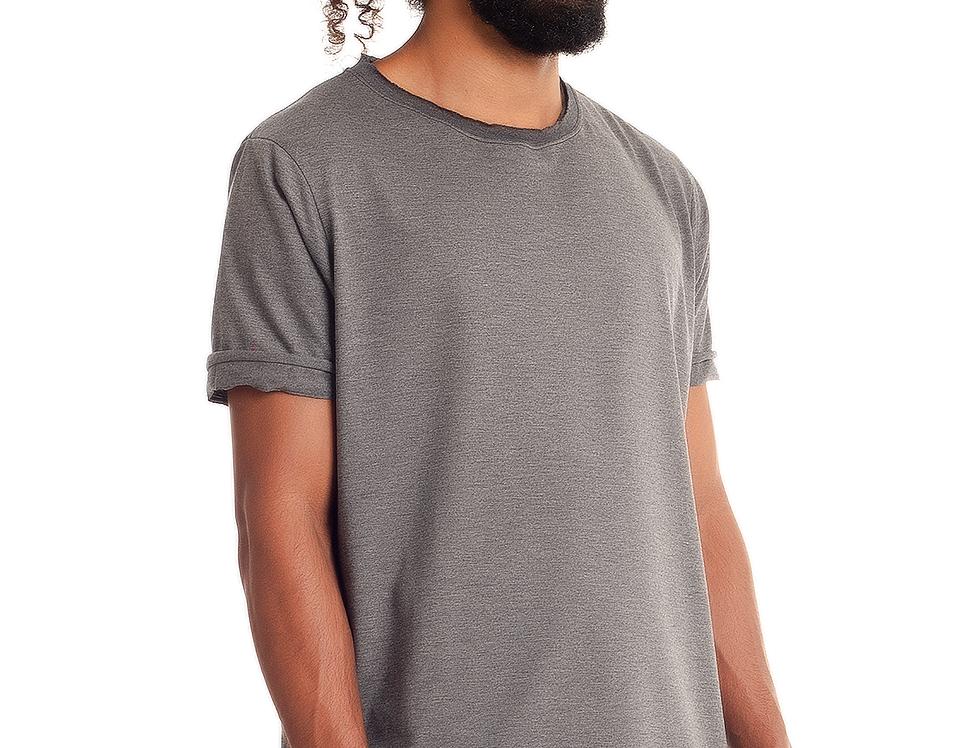Camiseta Oversized Longline Gola Canoa Barra Afundada Cinza Mescla Escuro