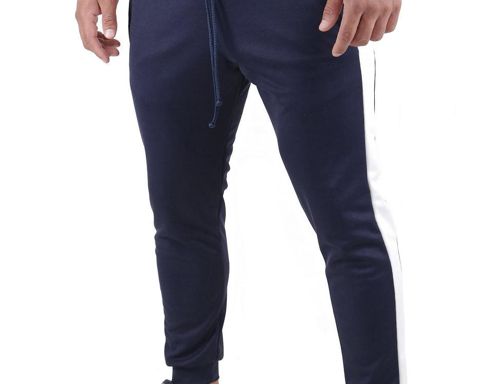 Calça Listrada Track Pants Colegial Fitness Jogger Meio Swag Azul com Branco