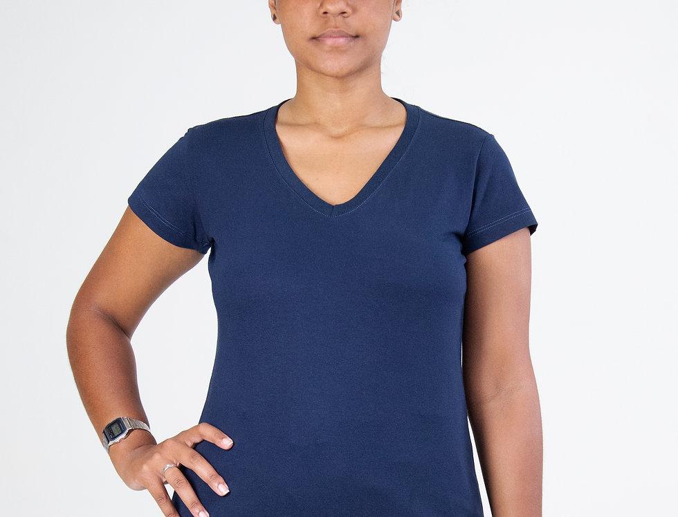 Camiseta Básica Gola V 100% Algodão Azul Marinho