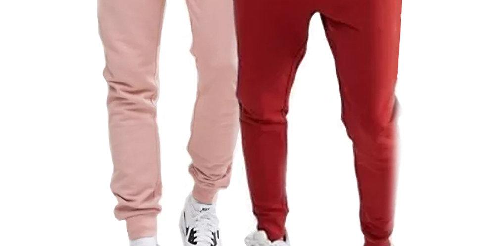 Kit 2 Calça Moletom Moleton Meio Swag Jogger Masculina Básica Rosa + Vermelho
